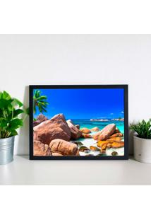Quadro Decorativo Com Moldura Praia Preto
