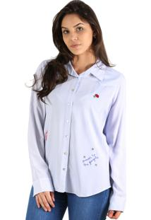 Camisa It'S & Co Estrela Branco/Azul Claro