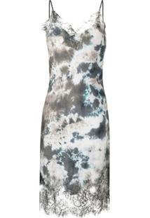 Gold Hawk Slip Dress Com Estampa Abstrata - Cinza