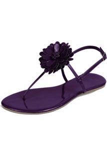 Rasteira Mercedita Shoes Flor Veniz Uva