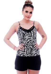 Short Doll Ficalinda De Blusa Alça Fina Estampa Animal Print De Zebra Com Renda Guipir Preta No Decote E Short Preto
