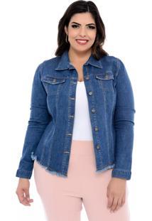 Jaqueta Marileti Jeans Plus Size Franjinhas Azul-54