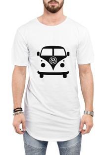 Camiseta Criativa Urbana Long Line Oversized Kombi Carro Antigo - Masculino-Branco