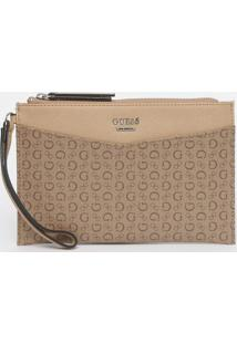 "Clutch Texturizada ""Guess®"" Com Tag - Bege Claro & Marroguess"
