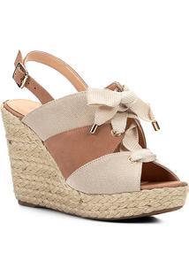 Sandália Plataforma Couro Shoestock Lona Feminina - Feminino-Nude