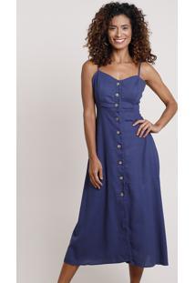 Vestido Feminino Midi Com Linho E Botões Alça Fina Azul Marinho