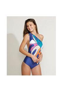 Maiô Body Um Ombro Só Costela De Adão Aquarelada Com Bojo E Proteção Uv50+ Azul Marinho