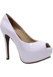 Sapato Bebecê Peep Toe Meia Pata Branco
