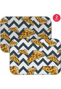 Jogo Americano Love Decor Pizza Geometric Branco/Cinza/Amarelo