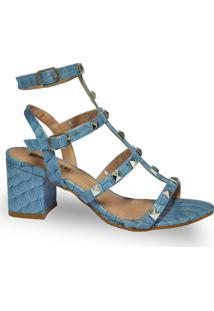 Sandália Thassia Blue Croco