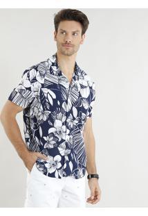 Camisa Masculina Relaxed Estampada De Folhagens Manga Curta Azul Marinho