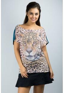 Blusa Ombro Caido Com Sublimação - Banna Hanna - Feminino-Onça