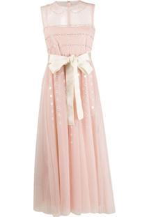 Redvalentino Vestido Floral Com Recorte Translúcido - Neutro