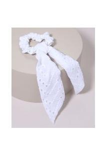 Elástico De Cabelo Scrunchie Em Laise Com Laço Branco
