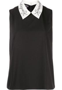 Boutique Moschino Contrast-Collar Sleeveless Top - Preto