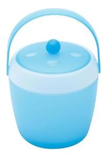 Balde Para Gelo Com Tampa E Pinça Bon Gourmet Joy Party 25743 Em Plástico Azul – 1,8 L