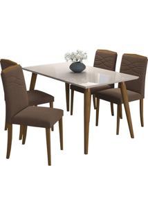 Sala De Jantar Adele 130Cm Com 4 Cadeiras Madeira/Off White Chocolate