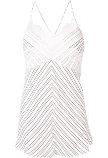 Victoria Beckham Blusa Listrada Com Renda - Branco