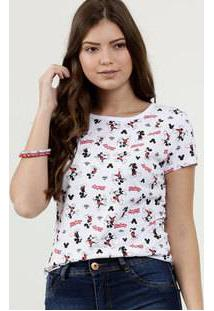 Blusa Feminina Estampada Mickey Manga Curta Disney