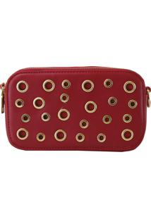 Bolsa Crisfael Acessórios Com Ilhos E Ziper Vermelho