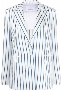 Manuel Ritz Blazer Com Listras E Abotoamento Simples - Branco