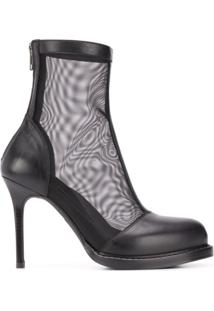 Ann Demeulemeester Ankle Boot Com Mesh - Preto