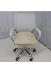 Cadeira Office Outlet Osorno Telinha Baixa Branca Cromada - 1 - Sun House