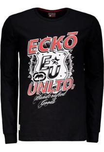 Camiseta Ecko Estampada Manga Longa Masculina - Masculino-Preto