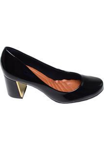 Sapato Feminino Salto Médio Di Vaio Preto Verniz