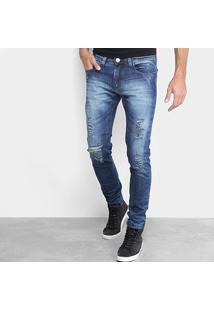 Calça Jeans Slim Preston Estonada Rasgada Cintura Média Masculina - Masculino-Jeans