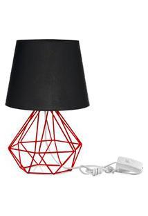 Abajur Diamante Dome Preto Com Aramado Vermelho
