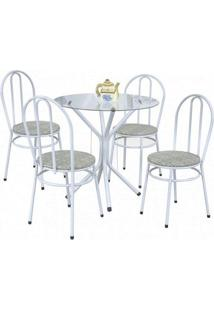 Conjunto De Mesa 4 Cadeiras Lirio 88106 Branco Bege Archeli