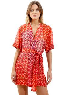 Kimono Rosa Chá Clara Fancy Stars Beachwear Seda Estampado Feminino (Fancy Stars, P)