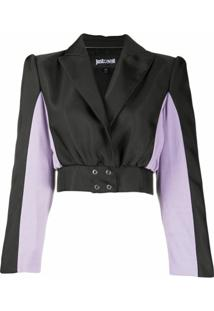 Just Cavalli Cropped Colour Block Jacket - Preto