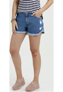 Short Feminino Jeans Puídos Desfiado Sawary
