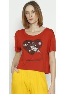 "Camiseta ""Foguete""- Vermelha & Preta- Sommersommer"