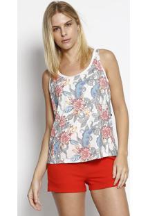Blusa Confort Abstrata- Branca & Vermelha- Mirasulmirasul