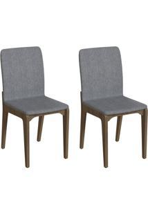 Conjunto Com 2 Cadeiras Darwin Cinza E Freijó