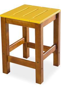 Banqueta Baixa Sem Encosto Colorida De Madeira Maciça Taeda Nozes Olga - Verniz Nozes/Amarelo 32X32X45Cm