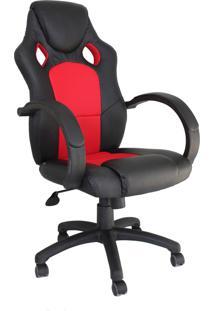 Cadeira Office Racer Preta E Vermelha Rivatti Móveis