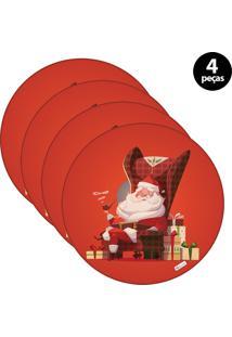 Sousplat Mdecore Natal Feliz Natal 32X32Cm Vermelho 4Pçs