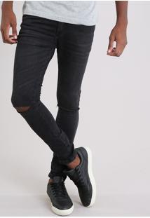 Calça Jeans Masculina Super Skinny Cropped Em Algodão + Sustentável Preta