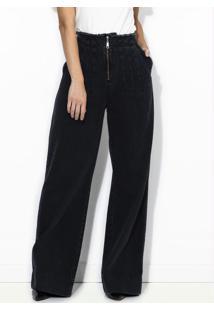 Calça Jeans Pantalona Preta