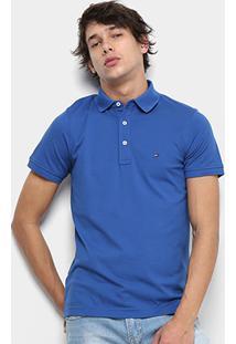 Camisa Polo Tommy Hilfiger Slim Masculina - Masculino-Azul Royal
