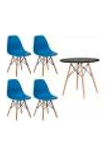 Conjunto Kit 4 Cadeiras Eiffel Eames Azul + 1 Mesa Eames 80Cm Preta Base Madeira Sala Cozinha