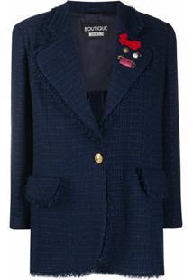 Boutique Moschino Jaqueta Longa Com Abotoamento Simples De Tweed - Azul
