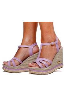 Sandália Plataforma Anabela Sb Shoes Ref.3230 Lilás