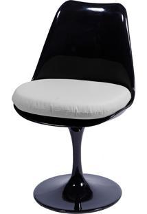 Cadeira Saarinen Sem Braço E C/ Almofada – Or Design - Preto / Branco