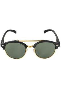 Óculos De Sol Khatto Round Caçador Feminino - Feminino-Preto