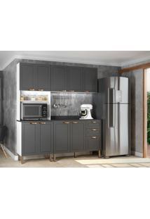 Cozinha Compacta Nevada Ix 9 Pt 3 Gv Grafite E Branca